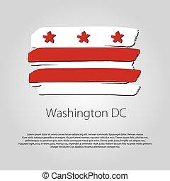 coloré, format, lignes, washington dc, main, drapeau, vecteur, dessiné