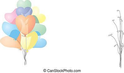 coloré, forme coeur, ballons