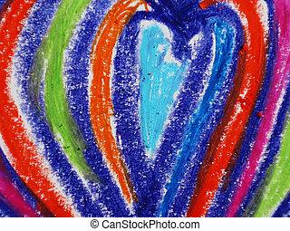 coloré, forme coeur