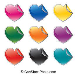 coloré, forme coeur, vecteur, sticke
