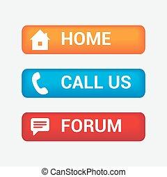 coloré, forum, nous, boutons, appeler, maison