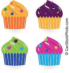 coloré, gâteaux anniversaire, ensemble, isolé, blanc