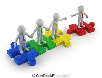 coloré, gens, -, collaboration, petit, 3d