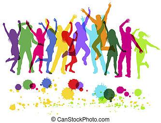 coloré, gens, danse, isolé, silhouettes, white., partie.