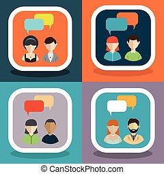 coloré, gens, icônes, parole, dialogue, bulles