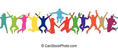 coloré, gens., pattern., seamless, illustration, silhouettes, vecteur, sauter