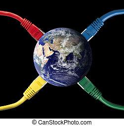 coloré, globe, connecté, la terre, câbles, réseau