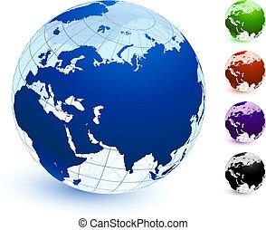 coloré, globe, multi, ensemble