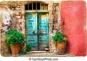coloré, grec, vieux, crète, pictorial, rues, îles