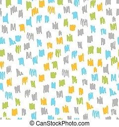 coloré, gribouiller, seamless, moderne, vecteur, branché, désordre, pattern., illustration., encre