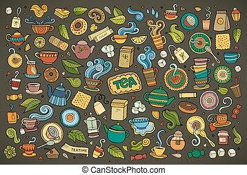 coloré, griffonnage, objets, ensemble, vecteur, dessin animé...