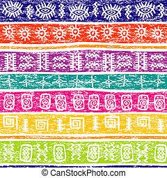 coloré, grunge, fond, à, ethnique, motifs
