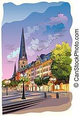 coloré, hambourg, petri, église, sankt, hauptkirche, vue