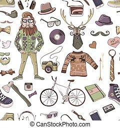coloré, hand-drawn, hipster, style, modèle