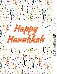 coloré, hanukkah, exploser, fond, confetti, fête, heureux, popper, carte, serpentine