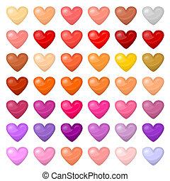 coloré, hearts., différent, ensemble, palitra, couleurs