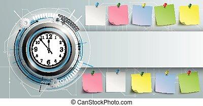 coloré, horloge, bannière, sombre, planche, circuit, autocollants