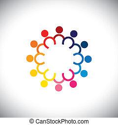 coloré, icônes, de, enfants, debout, dans, cercle, -, concept, vecteur