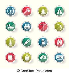coloré, icônes, sur, fond, vacances, tourisme