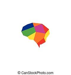 coloré, illustration, cerveau, conception, gabarit, logo