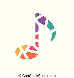 coloré, illustration, note, vecteur, musique, icon-, géométrique