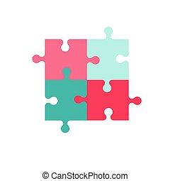 coloré, illustration, vecteur, fait, quatre, morceaux, puzzle