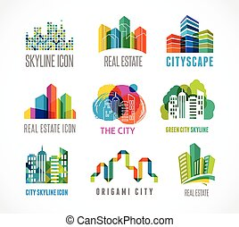 coloré, immobiliers, ville, et, horizon, icônes
