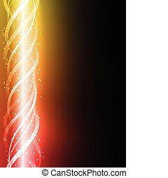 coloré, incandescent, lignes, jaune, arrière-plan., rouges