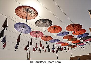 coloré, iran., ciel, yazd, fond, pendre, parapluies