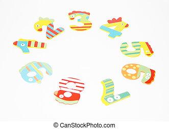 coloré, isolé, enfants, arrière-plan., nombres, blanc, rond