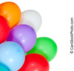 coloré, isolé, fond, coin, blanc, ballons