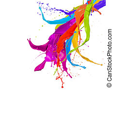 coloré, isolé, peinture, eclabousse, fond, blanc