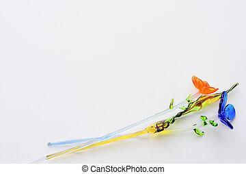 coloré, isolé, verre, fond, fleurs blanches
