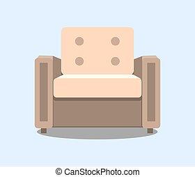 coloré, isolated., fauteuil, moderne, réaliste, vecteur, icône, ton, design.