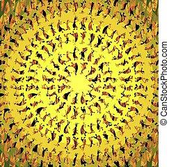 coloré, jaune, image, tribu, fantasme, fond, danse