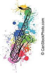 coloré, jazz, main, peinture, saxophone., fond, dessiné, blanc, splats