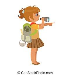 coloré, jumelles, sac à dos, caractère, regarder, scout, par, vue, porter, girl, côté
