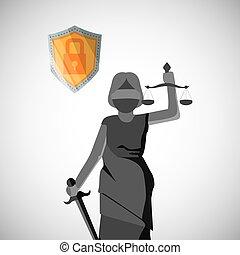 coloré, justice, concept., editable, vecteur, icône, icon., droit & loi