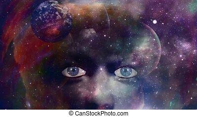coloré, la terre, figure, femme, planète, rotation, space.