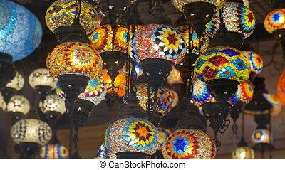 coloré, lampes, mosaïque