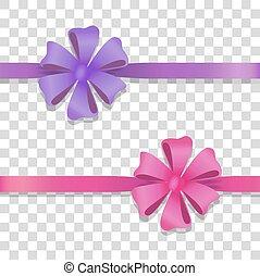 coloré, large, arcs, violet, rose, rubans