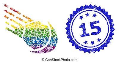coloré, lgbt, météore, gratté, géométrique, cachet, 15, collage, timbre