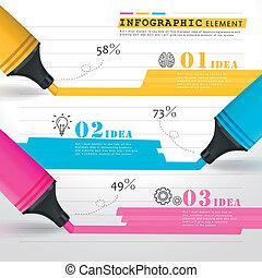 coloré, lignes, créatif, infographic, gabarit, marques, dessin