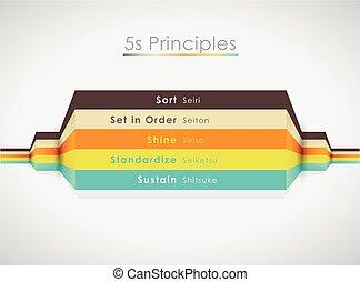 coloré, lines., 5s, principes, vecteur, illustration, horizontal