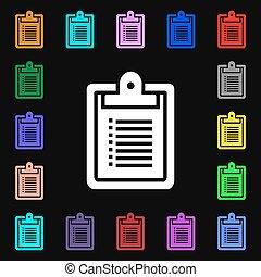 coloré, lotissements, signe., cahier, symboles, vecteur, icône, ton, design.