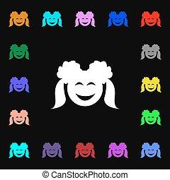 coloré, lotissements, signe., symboles, girl, vecteur, sourire, icône, ton, design.