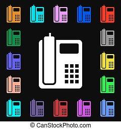 coloré, lotissements, signe., symboles, téléphone, vecteur, maison, icône, ton, design.