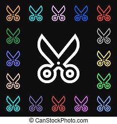 coloré, lotissements, signe., symboles, vecteur, ciseaux, icône, ton, design.
