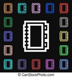 coloré, lotissements, signe., ton, symboles, vecteur, icône, livre, design.