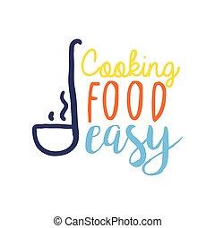coloré, louche, nourriture, cuisine, club, gabarit, logo
